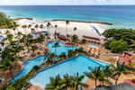 The pools at the Hilton Barbados in the Lesser Antilles, Caribbean.