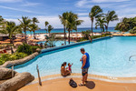 Poolside at the Hilton Barbados, Lesser Antilles, Caribbean.