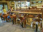 Saddle stools at the bar at White Stallion Ranch, a dude ranch outside Tucson, AZ.