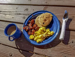 A breakfast of scrambled eggs, bacon, pancakes during a breakfast ride at White Stallion Ranch outside Tucson, AZ.