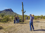 Photographing near a saguaro cactus at White Stallion Ranch, a dude ranch outside Tucson, AZ.