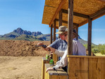 Shooting lessons with rifle and six shooter at White Stallion Ranch, a dude ranch outside Tucson, AZ.