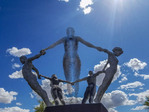 Unity, a statue along a Tucson street by Ben Olmstead and Simon Donovan.