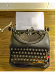 Antique manual typewriter on display at newly renovated Leopold Hotel in downtown Bellingham, WA.