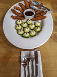 Portobello mushroom fries with smoked salmon mousse in a cucumber cup at 9 Restaruant at North Bellingham Golf Club.