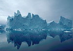 Arctic summer iceberg -- approximately 200 feet tall --floats off the west coast of Greenland.