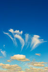 Cirrus and cumulus clouds