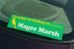 Magee Marsh decal on rear window of car parked at Magee Marsh