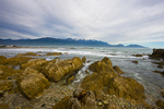 View west along north shore of Kaikoura Peninsula to the Kaikoura Ranges on the mainland