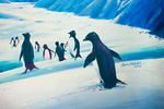 Painting by Maurice Middleditch showing Adelie Penguins, International Antarctic Centre