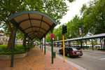 covered walkways, The Octagon, eight-sided city center of downtown Dunedin
