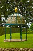 Stained glass cupola, front lawn, Larnach Castle, Otago Peninsula, Dunedin