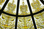 Detail, stained glass dome of garden cupola, front lawn, Larnach Castle, Otago Peninsula, Dunedin