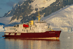 Icebreaker M/V Polar Star anchored off the Antarctic Peninsula