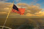 U.S. Flag, stern of ship, Pine Island Sound