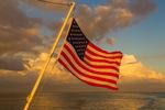 U.S. Flag, stern of boat, Pine Island Sound