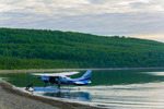 Katmai Air floatplane arriving at Brooks Camp, dawn
