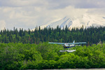Katmai Air floatplane on final approach to Naknek Lake