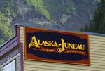 Downtown Juneau historic district below cascade on flank of Mount Juneau