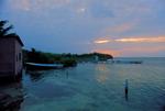 Docks and boats at sunset, Caribbean Sea