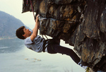 Brett Moyer, 13, top-roping 5.7 overhang, The Corner, Chickies Rock
