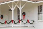 Lighthouse porch (1884) decorated for Christmas