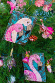 Roseate Spoonbill art on Christmas tree decorated by local students