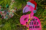 Roseate Spoonbill Santa Claus on Christmas tree