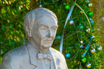 Statue of Thomas Edison by D.J. Wilkins with Christmas tree