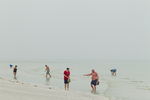 Looking for seashells, low tide, foggy morning, Gulf of Mexico