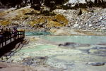 """Visitors on boardwalk trail at """"Bumpass Hell"""" thermal area, Lassen Volcanic National Park, CA"""