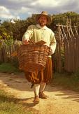 Plimoth Plantation Pilgrim Man Carrying Basket, Plymouth, Massachusetts