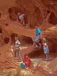 Children on Rocks in Grand Wash, Capitol Reef National Park, Utah