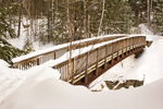 Wooden Pedestrian Footbridge over Rocky Gorge in Winter, Kancamagus Highway, White Mountains, New Hampshire