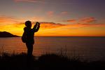 Photographer on Baker Beach at Sunset, Golden Gate National Recreation Area, San Francisco, California