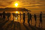People Dancing on Baker Beach at Sunset, Golden Gate National Recreation Area, San Francisco, California