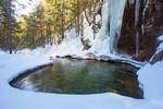 Green Pool Below Sabbaday Falls in Winter, Sabbaday Brook, Kancamagus Highway, White Mountains, New Hampshire