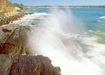 Cliff Walk and Surf, Rocky New England Coast, Newport, Rhode Island