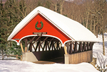Pemigewasset River Covered Bridge in Winter, Historic 19th Century Wooden Bridge, The Flume, Franconia Notch State Park, White Mountains, Lincoln, New Hampshire