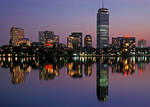 Boston Skyline at Night Reflected in the Charles River, Boston, Massachusetts