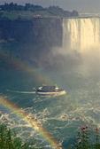 Niagara Falls Double Rainbow, Maid of the Mist Tourboat on Niagara River, New York