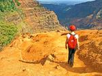 Hiker on Waimea Canyon Trail, Kokee State Park, Grand Canyon of the Pacific, Hawaiian Islands, Kauai, Hawaii