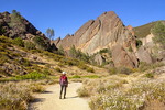 Hiker on the Balconies Trail and Machete Ridge, Pinnacles National Park, Soledad, California