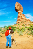 Photographer at Balanced Rock Formation, Arches National Park, Colorado Plateau, Moab, Utah