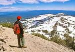 Hiker on Lassen Peak, Lassen Volcanic National Park, California