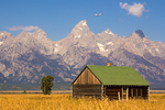 Airplane Flying Over The Tetons, John and Bartha Moulton Homestead Mormon Row Historic District, Antelope Flats, Jackson Hole, Grand Teton National Park, Wyoming