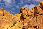 Hiker on Summit of Mastodon Peak, Joshua Tree National Park, Twentynine Palms, California