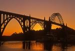 Yaquina Bay Bridge at sunset, Newport Bridge, Deck Arch Bridge, Newport, Oregon