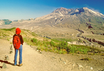 Hiker on Eruption Trail Viewing Mt. St. Helens, Mt. St. Helens National Volcanic Park, Washington