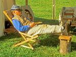 Confederate Civil War Reenactor Sleeping, Civil War Reenactor